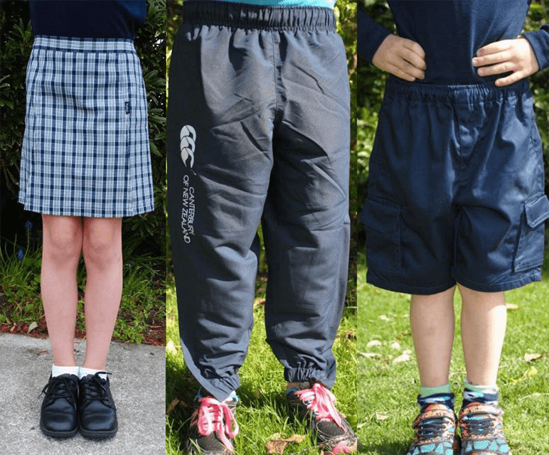 Three images of Te Anau School Children wearing their blue pants, blue shorts and green skort uniform