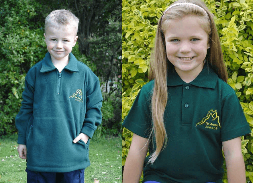 Te Anau School Children wearing their green polarfleece jacket and green polo t-shirt uniform